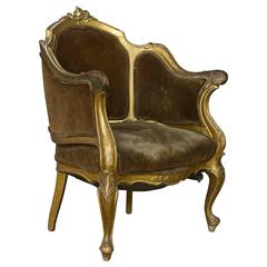 French 19th Century Rococo Revival Giltwood Armchair