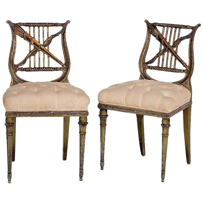 Pair of Antique French Napoleon III Period Paint and Gilt Lyre-Back Side Chairs