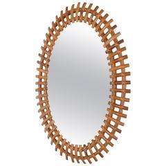 Italian Sunburst Mirror Bamboo Oval 50s