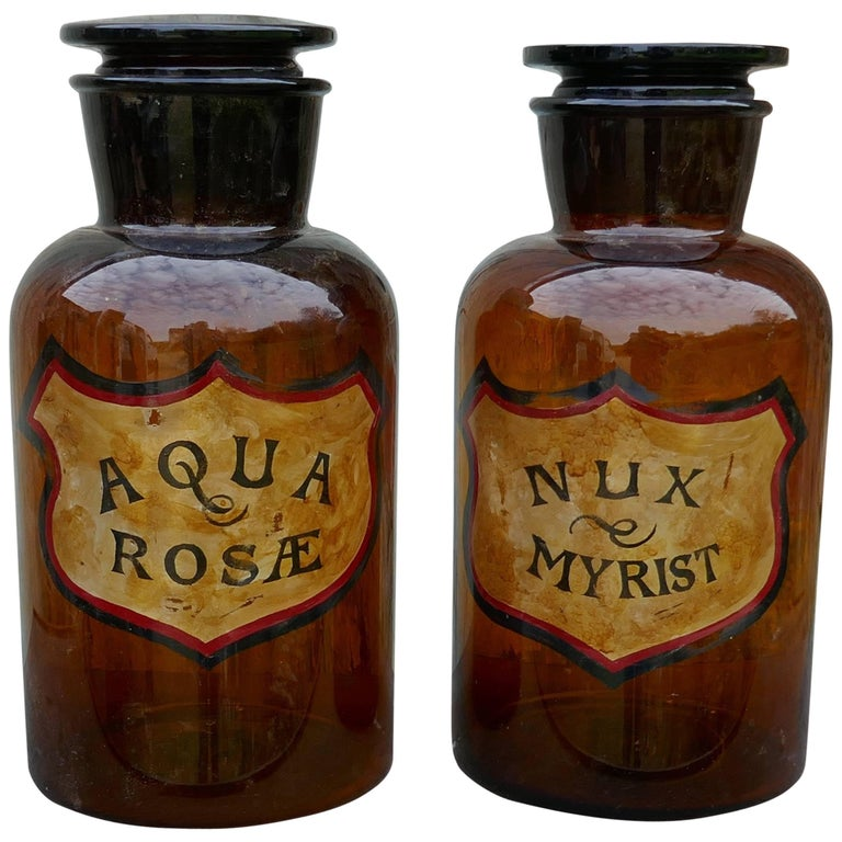 Pair of Very Large Amber Glass Chemist Jars, Large Stoppers