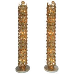 Pair of Brass Floor Lamps by Faustig. Germany, 1970s