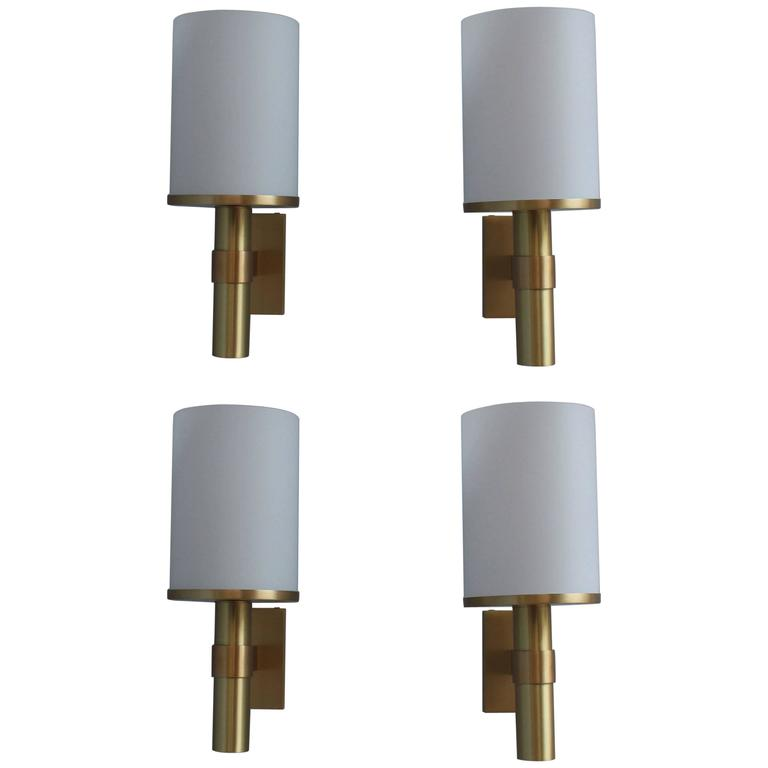 Four fine french art deco glass and bronze cylindrical sconces by perzel for sale at 1stdibs - Cylindrical wall sconce ...