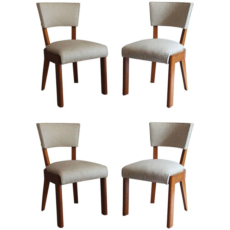 Set of Four Fine French Art Deco Oak Chairs by Charles Dudouyt For Sale