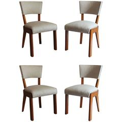 Set of Four Fine French Art Deco Oak Chairs by Charles Dudouyt