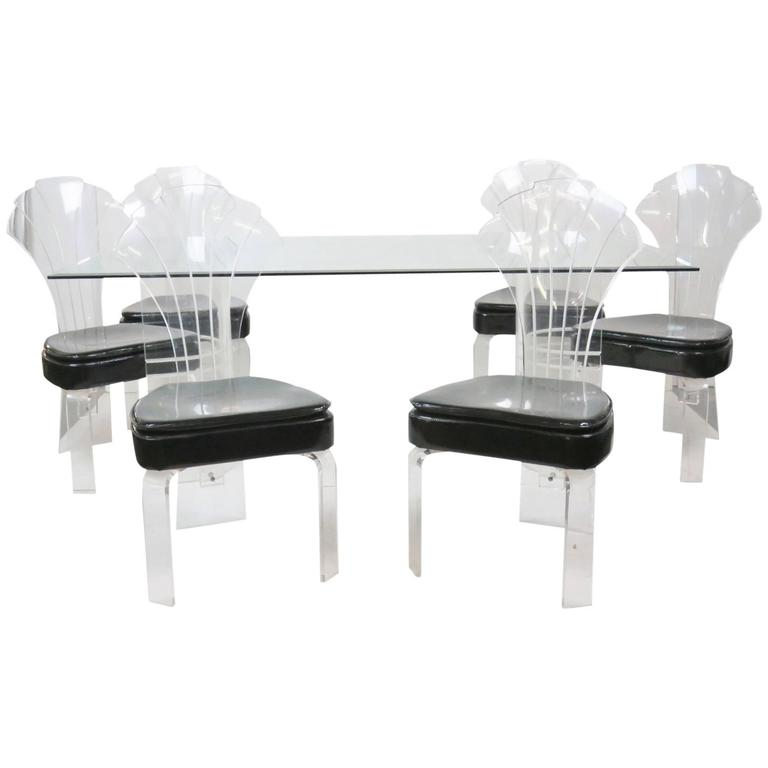 Seven Piece of Lucite and Glass Dining Table with Six Chairs