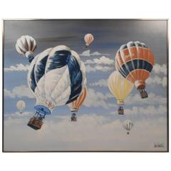 Mid-Century Modern Hot Air Balloon Oil Painting