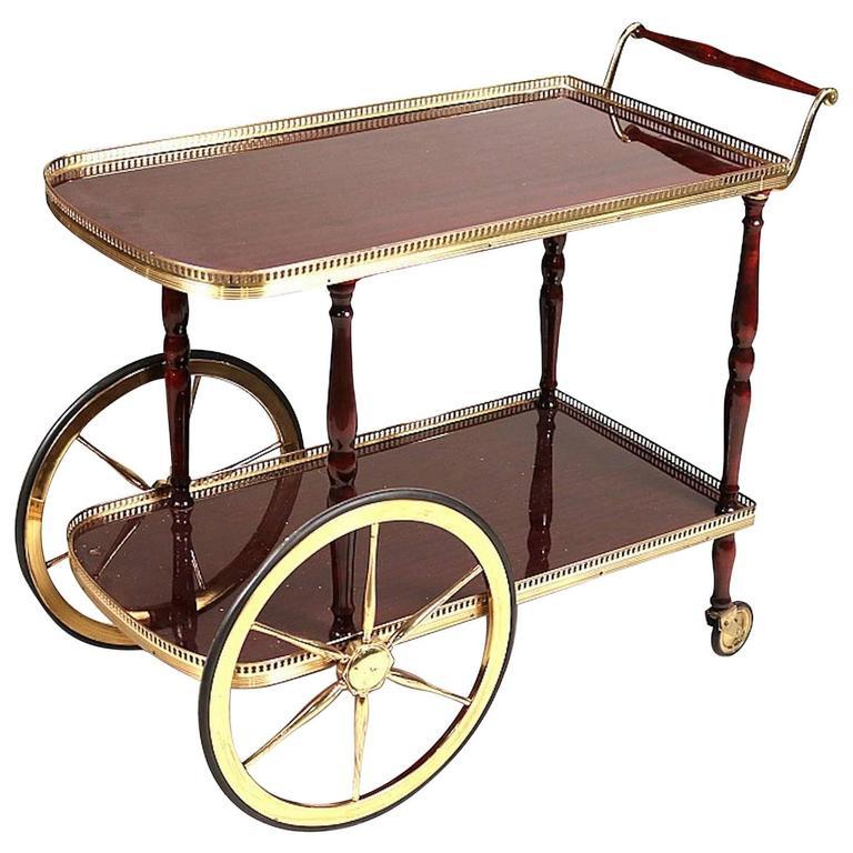 Gilt-Metal and Mahoganized Bar Cart