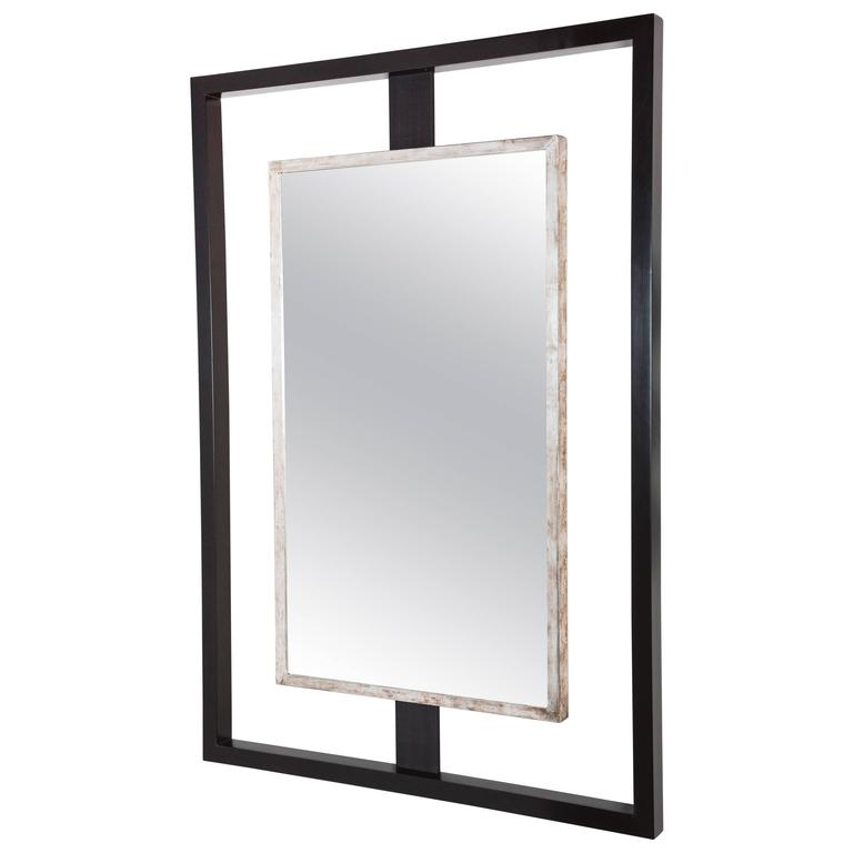 Paul Marra Negative Space Mirror with Distressed Silver Inner Frame 1