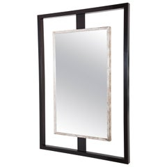 Paul Marra Negative Space Mirror with Distressed Silver Inner Frame