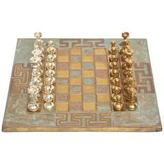 Vintage Small Greek Key Mid-Century Modern Chrome, Brass and Copper Chess Set