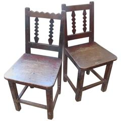 Two 19th Century, Small Painted Wood Chairs