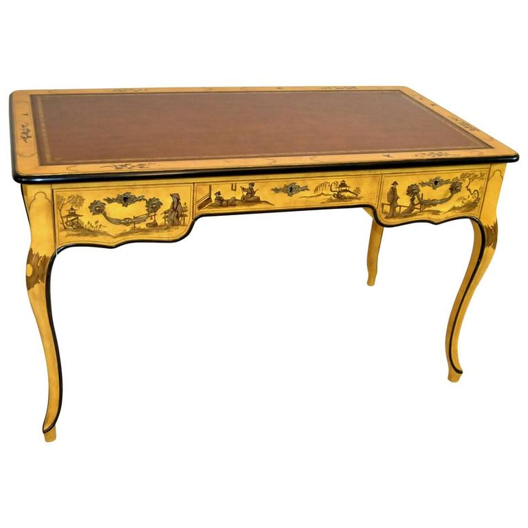 Asian Yellow Chinoiserie Desk With Tooled Leather Top By Baker Furniture For