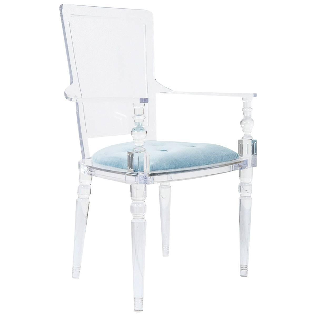 Modern Style Lucite Dining & Accent Chair with Ice Blue Velvet Upholstery