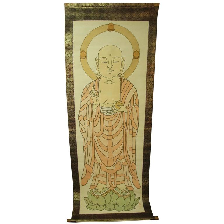 "Japan Important Large  Painting Buddha Temple ""Sutras"" Silk Scroll, Meiji 19thc"