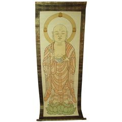 "Japanese Large Temple ""Sutras"" Silk Scroll Painting Buddha, Meiji, 19th Century"