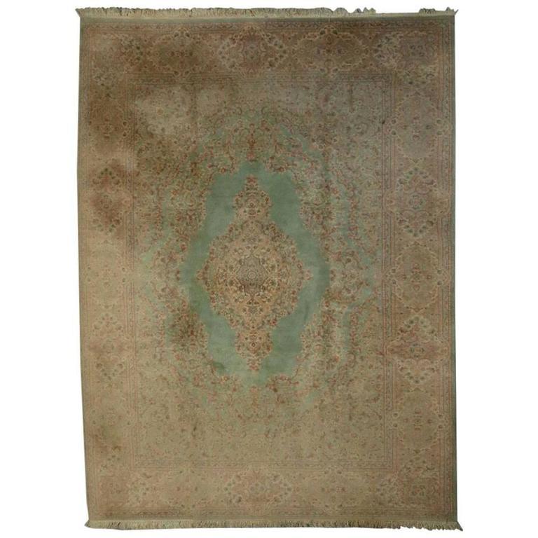 Vintage Wool Floral Karastan Kirman Rug Pattern 714