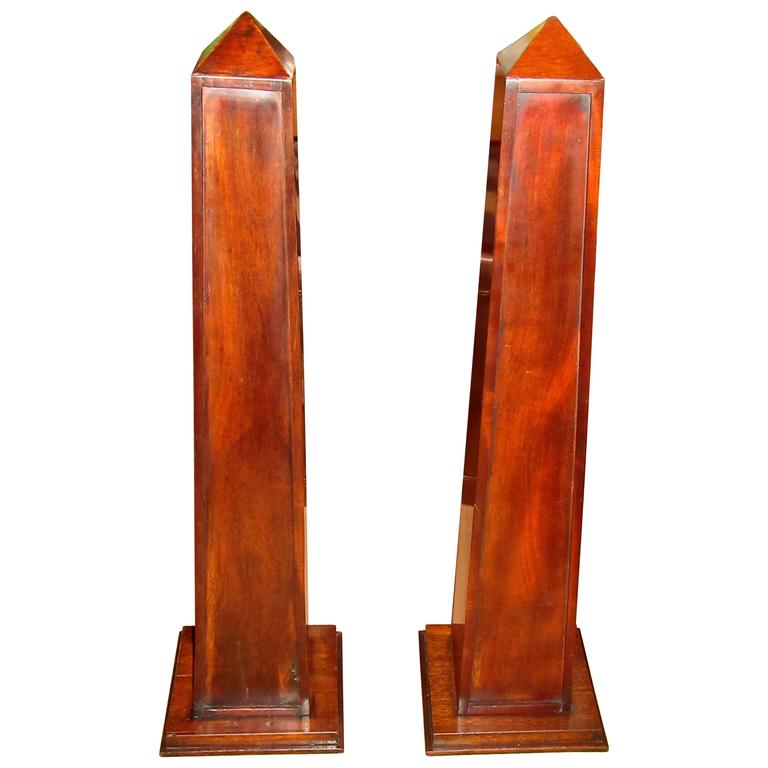 Pair of Mahogany Obelisks with Shelves For Sale