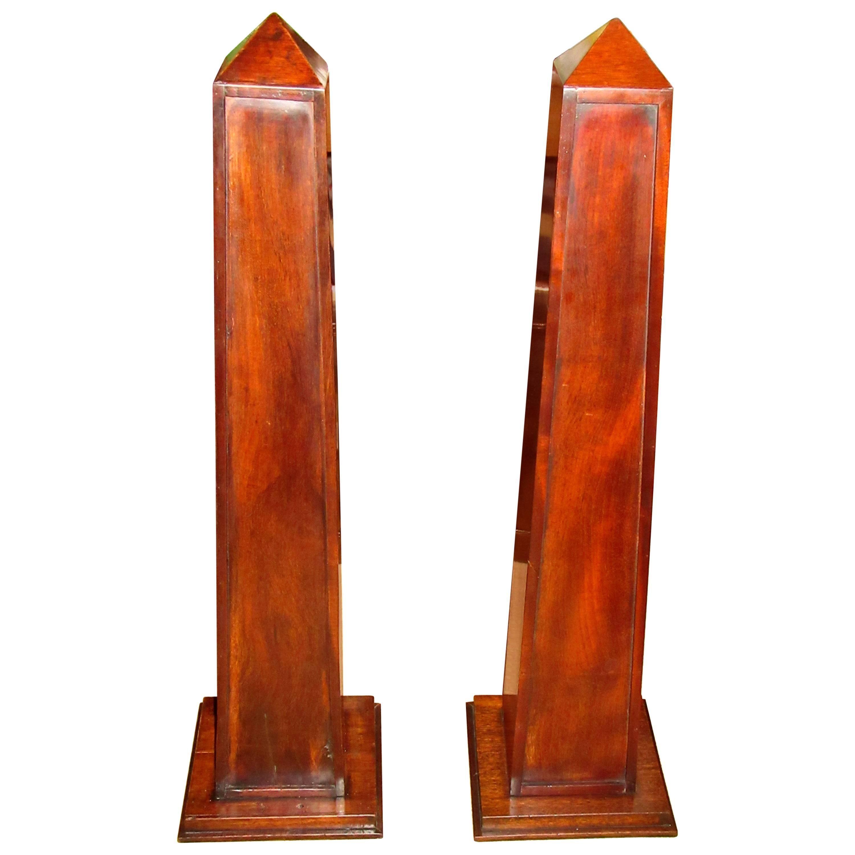 Pair of Mahogany Obelisks with Shelves
