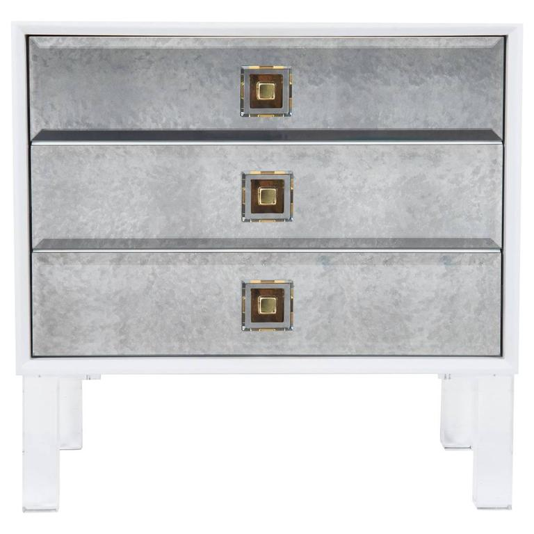 White Accent Table With Antique Mirror Drawers And Lucite Pulls U0026 Legs For  Sale