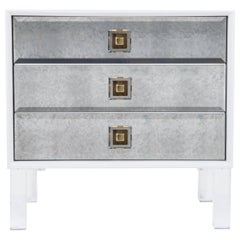 White Accent Table with Antique Mirror Drawers and Lucite Pulls & Legs