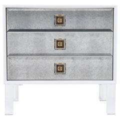 White Accent Table with Antique Mirror and Lucite Pulls