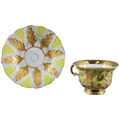 19th Century German Meissen Cup and Saucer Gold Gilt