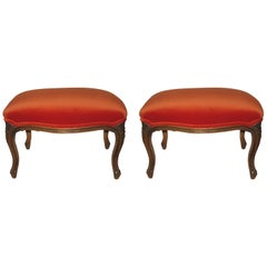 Pair of Carved Wood Stools Upholstered in Velvet
