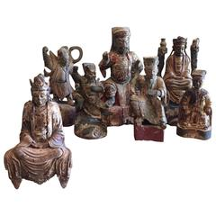 Group of Seven Chinese Wood Figures, 19th Century