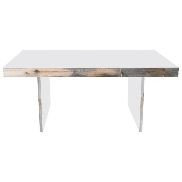 Modern Dining Table In Recycled Grey Wood With Lucite Legs Glass Top