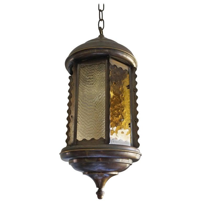 Unique Early 20th Century Art Nouveau Hexagonal & Circular Brass & Glass Pendant For Sale
