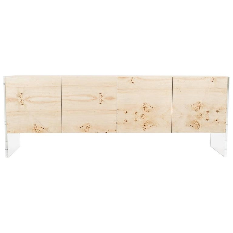 Mid-Century Style Burl Wood Storage Credenza Sideboard with Lucite Plinth Legs For Sale