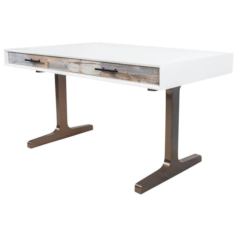 White Lacquered Desk with Recycled Wood Accents and Mid-Century Copper T-Legs