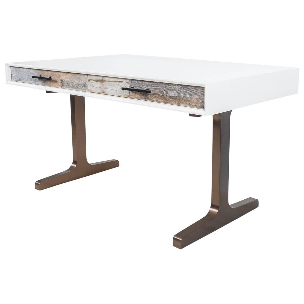 White Lacquered Desk With Recycled Wood Accentid Century Copper T Legs For At 1stdibs