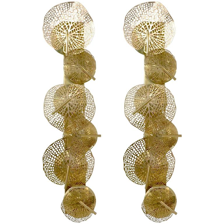 Contemporary Organic Italian Design Pair of Perforated Brass Leaf Sconces For Sale