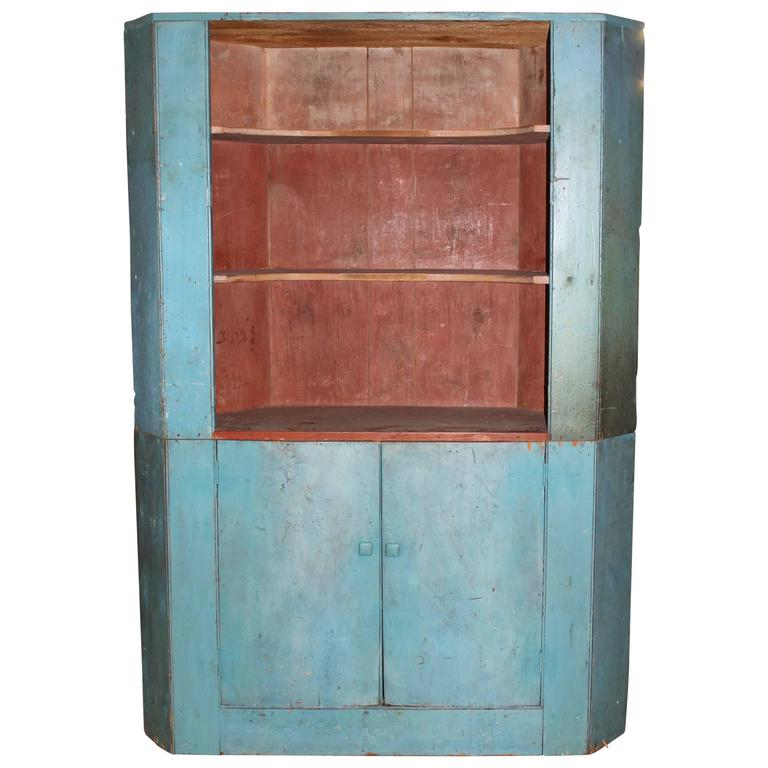 19th Century Two Part Corner Cupboard in Old Blue Paint For Sale