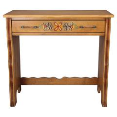 1930s Monterey Desk with Hand-Painted Floral Design