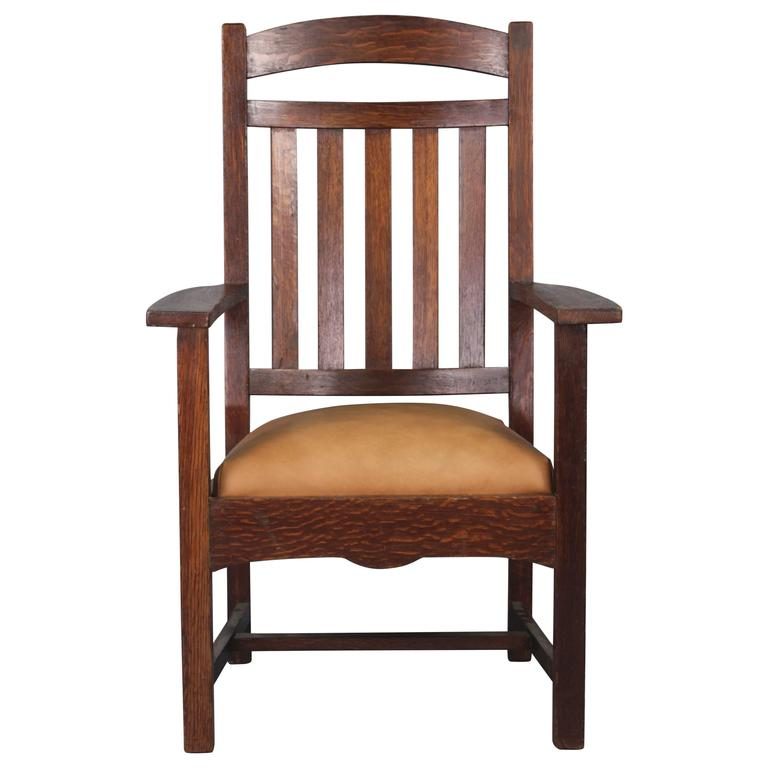 Nice 1910 Arts U0026 Crafts Period Tall Back Armchair For Sale