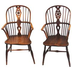 Matched Pair of English Wheelback Windsor Armchairs