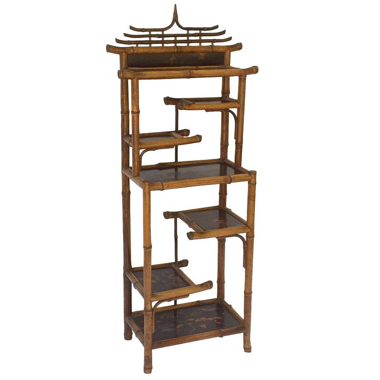 English Bamboo Etagere or Shelves from the Aesthetic Movement Era
