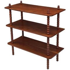 English Console Shelves of Mahogany with Bobbin Turned Supports