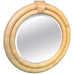Dramatic Round Karl Springer Goatskin Mirror