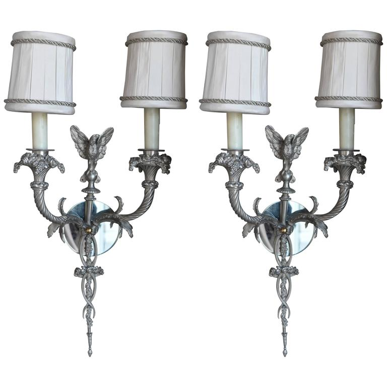 Pair of Silver Plated Sconces with Shades
