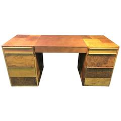 Paul Evans Patchwork Burled Wood and Leather Desk