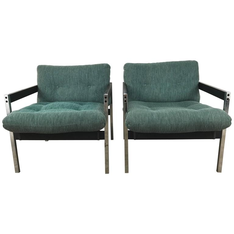 Pair of Modernist Chrome and Wood Sling Lounge Chairs after Charles Pollock