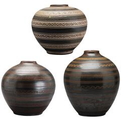 Selection of Monumental Primativistic Carved Vases by Arthur Andersson