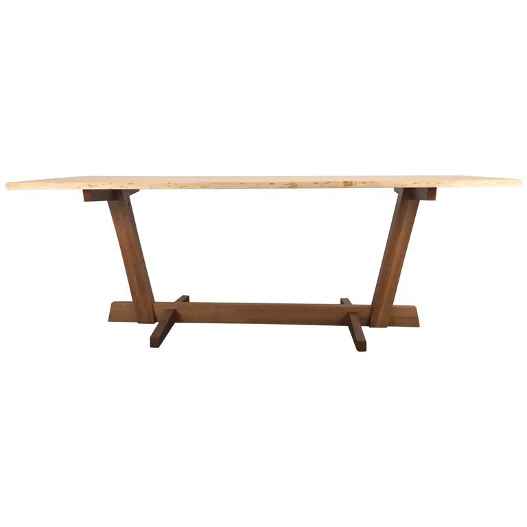 Modernist Live-Edge Figured Cherrywood Dining Table or Desk Griff Logan