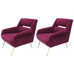 Pair of Custom 1960s Italian Style Armchairs in Fuchsia Mohair