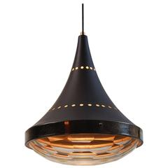 Multifaceted Glass and Nickel-Plated Brass Pendant by Lumi