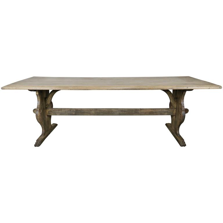 19th Century Italian Carved Wood Trestle Table