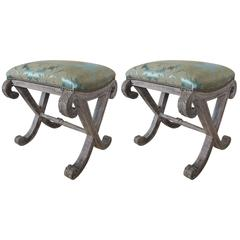 """Italian Neoclassical Style """"X"""" Benches, Pair"""